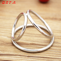 QRTA free shipping Men Metal Penis Delay Cock Ring Triple Stainless Steel Cock Ball Stretcher Delay Ring hot sale sex toys