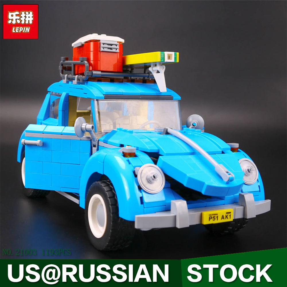 LEPIN 21003 Series City Car Volkswagen Beetle model Building Blocks 1193Pcs Compatible Whith Decool 3341 new lepin 21003 series city car beetle model educational building blocks compatible 10252 blue technic children toy gift