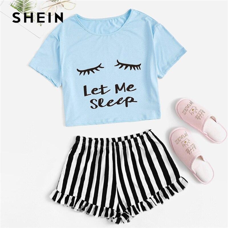 Image 4 - SHEIN Black Graphic Tee Frilled Striped Shorts PJ Round Neck Short Sleeve Set 2019 Summer Women Patchwork Sleepwear-in Pajama Sets from Underwear & Sleepwears