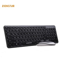 Zienstar Russia English letter 2.4G Wireless keyboard mouse combo with USB Receiver for Desktop,Computer PC,Laptop and Smart TV