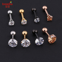 New Fashion 2pcs bag Silver Gold color Crystal Cartilage Earring Helix ear Piercing Top Upper Body For Women amp Men Jewelry cheap Body Jewelry Trendy Labret Lip Piercing Jewelry Stainless Steel Metal Round Beadia Body earring Silver black gold rose gold