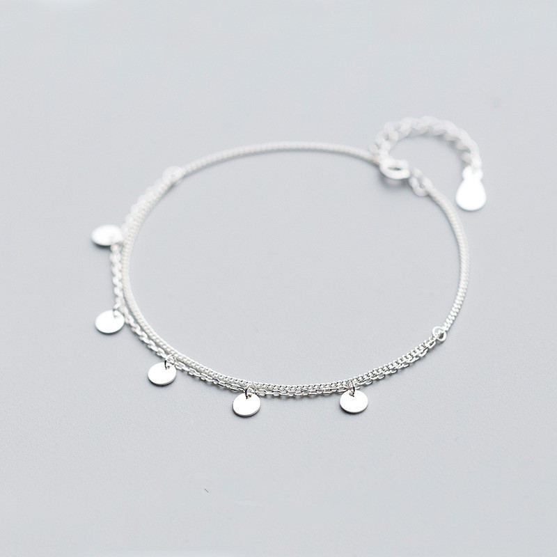 Bohi 100% real. 925 Sterling silver Fine Jewelry Multi-Layers Polished Round Coin Chain Bracelet women's GTLS773