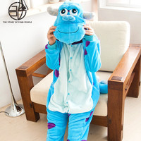 Gzpw Cosplay James P Sullivan Blue Anime Cartoon Coral Velvet Pajamas Lovely Men And Women Winter