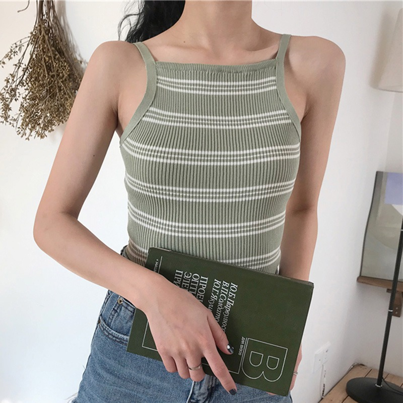 Casual Backless Striped Camis   Top   Summer Women Sexy Vest Halter Knitted Camisole   Tank     Top