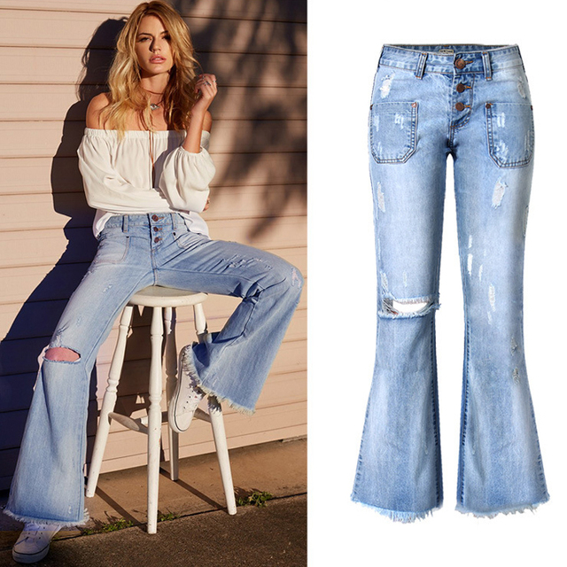 7c0cf7ce491 Women s Hole Jeans Vintage Low Waist Knee Ripped Baggy Flared Bottom Jeans  Denim Loose Wide Leg