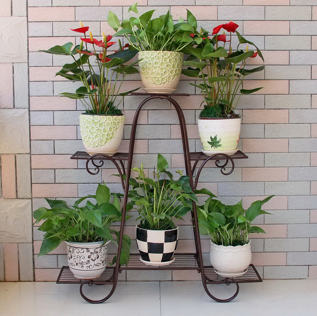 Big Size 6 Pots European Balcony And Indoor Flower Pot Holder Garden Flower  Stand Iron Flower