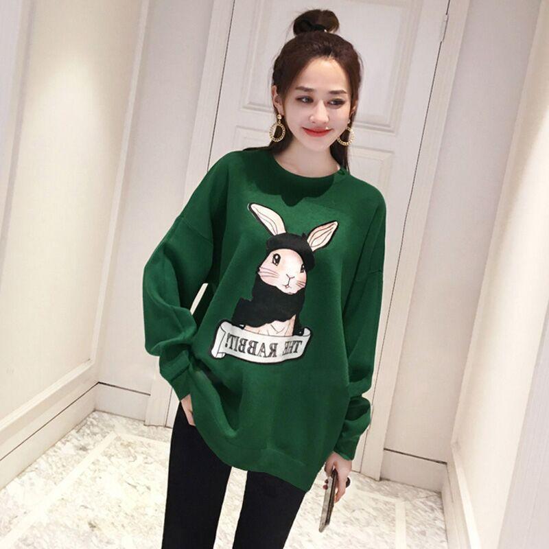 Women Cartoon Rabbit Print Sweatshirt 2019 Autumn Winter Plus Size Long Sleeve Harajuku Tshirt