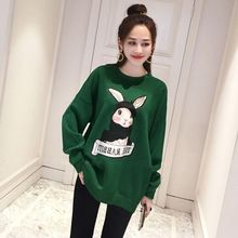 Women Cartoon Rabbit Print Sweatshirt 2019 Autumn Winter Plus Size Long Sleeve Harajuku Tshirt
