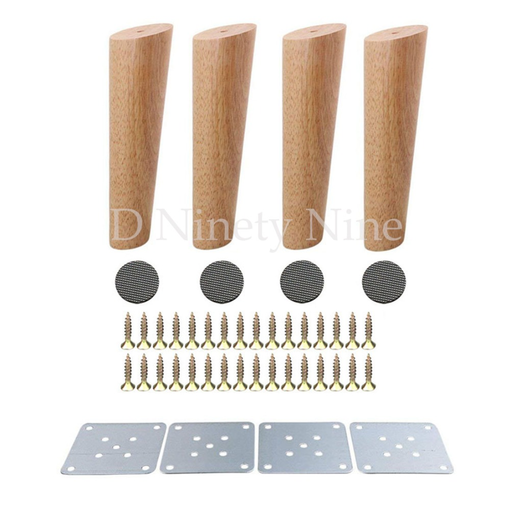 Oak Wood 20cm Height Reliable Furniture Leg With Iron Plate Sofa Table Cupboard Feet Set Of 4