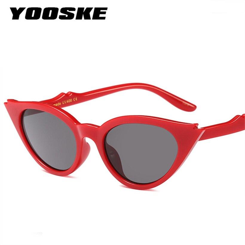 YOOSKE Sexy gato ojo gafas de sol mujer Retro pequeño triángulo Vintage Cateye gafas de sol mujer rojo amarillo sombras para las mujeres UV400
