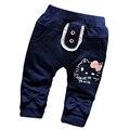 2017 Primavera nuevos pantalones del bebé 100% algodón de alta calidad pantalones de los bebés de 0-2 años de Moda de dibujos animados lindo ocasional pantalones
