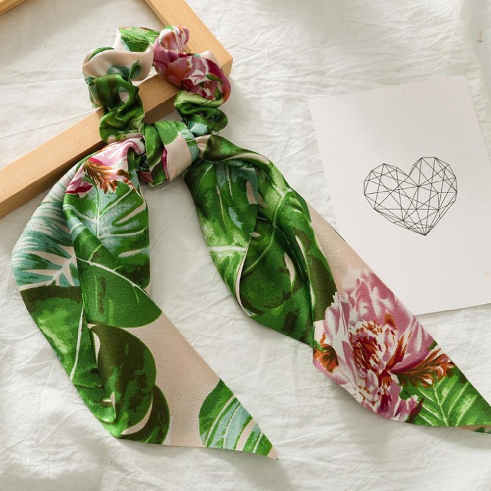 Элегантные резинки для волос с большим цветком и леопардовым принтом; эластичные резинки для волос для женщин и девочек; завязанные длинные резинки; шарф; аксессуары для волос - Цвет: 5