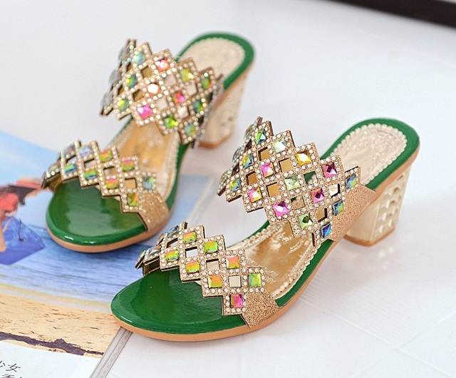 2be903fd94f1 Designer Women Summer Sandals Thick Heel Platform Wedges Sandals Sexy  Beading Slippers Sandalias Slides gold Black Green High