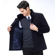 2019 high quality wool coat for men winter pea autumn blend jacket cashmere Real rabbit