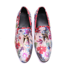 Italian Fashion Genuine Leather Mens Shoes Slip On Flowers Printed Mens Shoes Casual Ivory Studded Men Loafers Zapatillas Hombre fashion men shoe genuine leather man mixed colors business mens lover casual single shoes zapatillas deportivas zapatos hombre