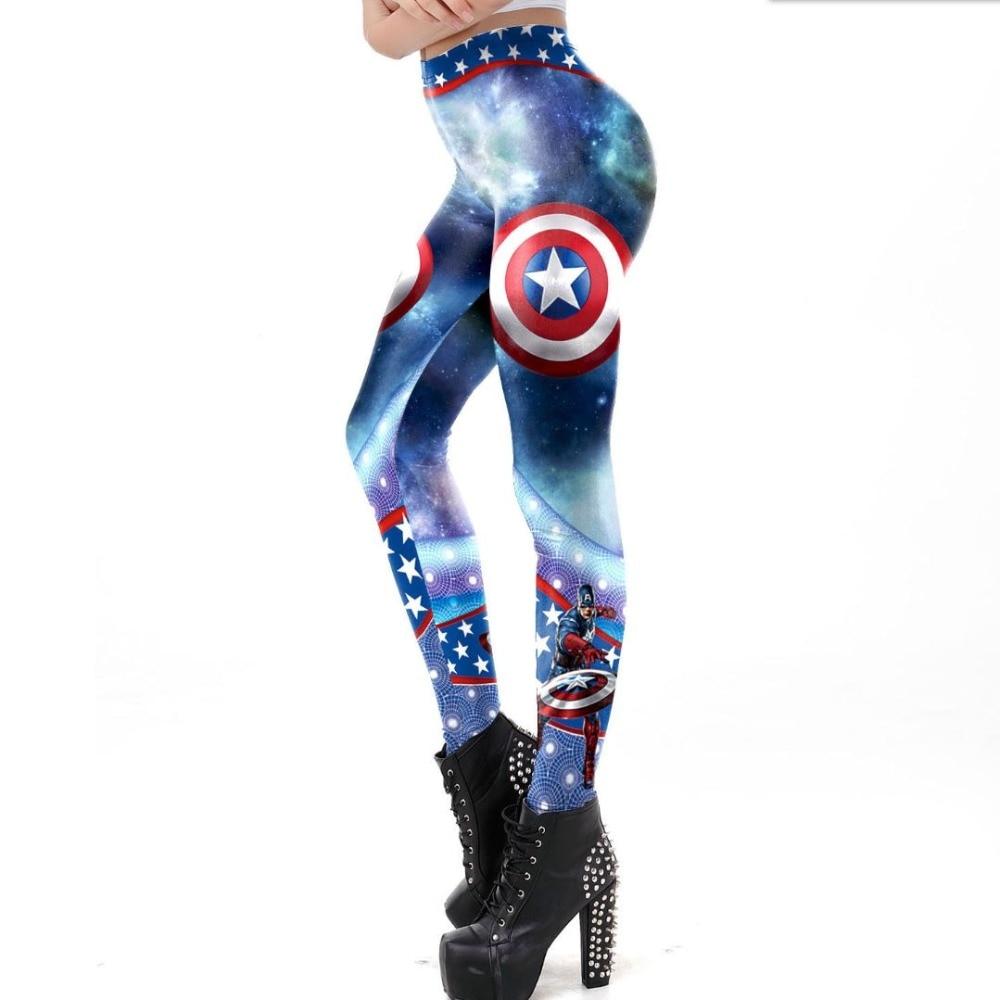 SzBlaZe Brand Fashion Womens Captain America Print Leggings Sexy Slim legging Height Waist Hip Super Hero Comic Pants Trousers in Leggings from Women 39 s Clothing