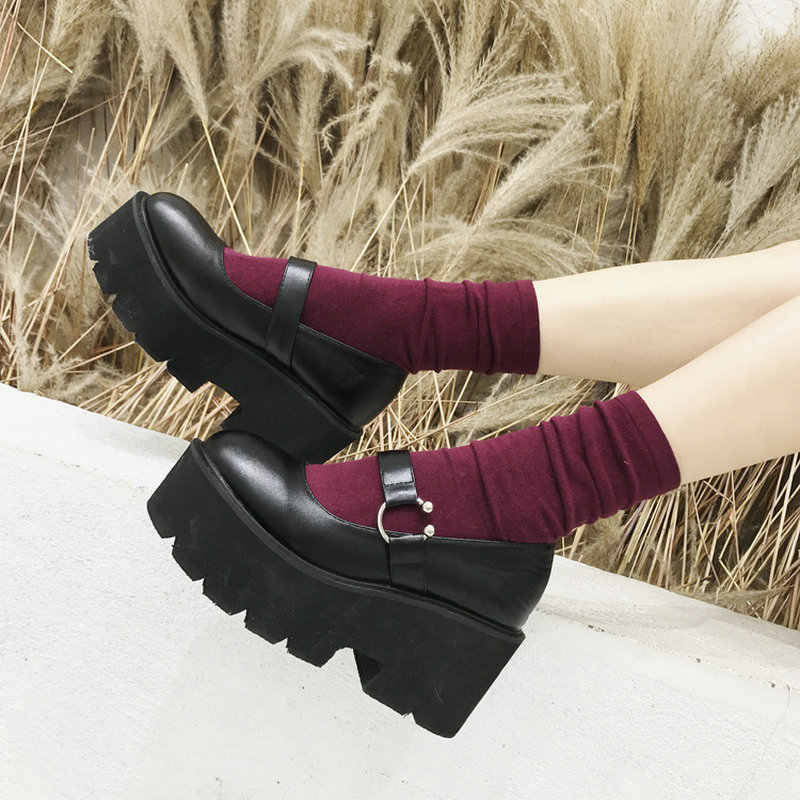Punk shoes Women High Heels Buckle Casual Shoes Woman Black Round Toe Mary Jane Shoes Platform Wedges Leather Lady Pumps B235