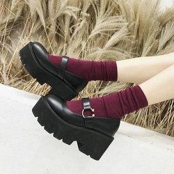 Sapatos femininos de salto alto fivela sapatos casuais mulher preto dedo do pé redondo mary jane sapatos plataforma cunhas de couro senhora bombas b235