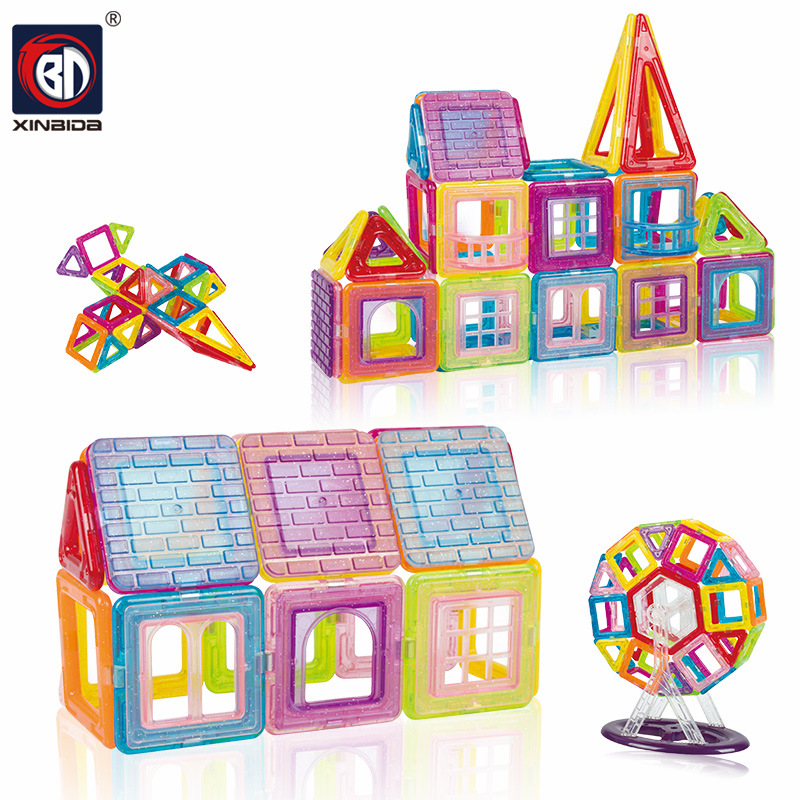 BD Construction Toys 56-128PCS Magnetic Blocks Educational Construction Set Models & Building Toy ABS Magnet Designer Kids Gift цена