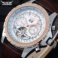 Homens relógios mecânicos dos homens de moda ouro marca de relógios com pulseira de couro Jaragar Turbilhão automático auto data relógios de pulso masculinos