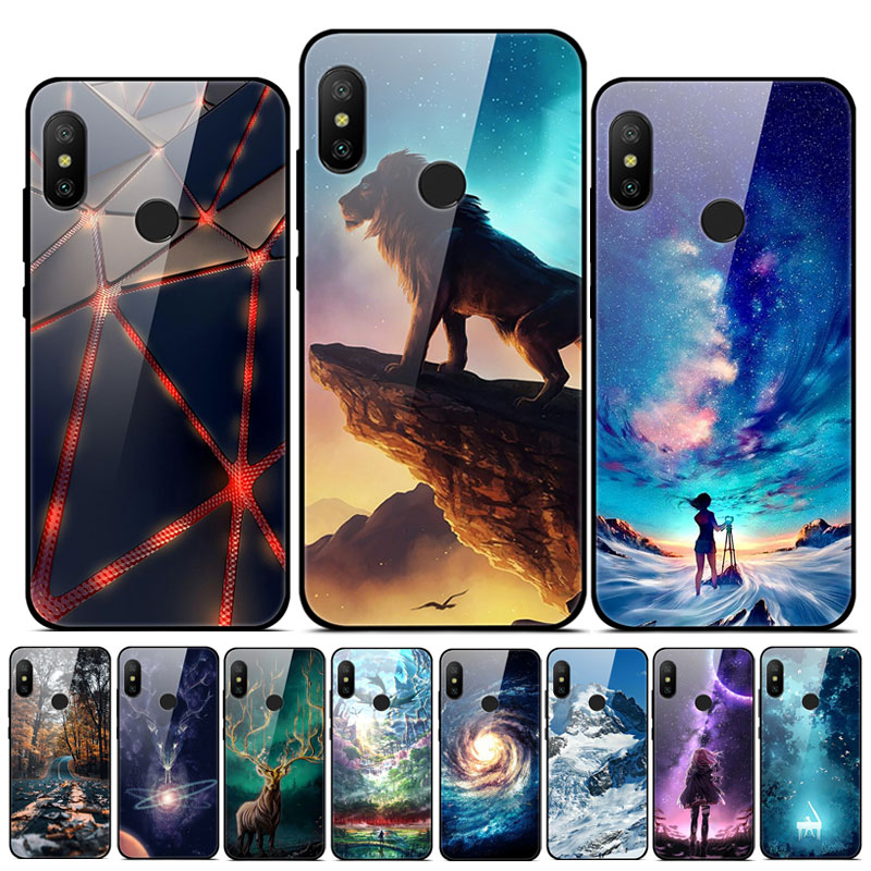 For <font><b>Xiaomi</b></font> <font><b>Mi</b></font> <font><b>A2</b></font> Lite Case Cute Pattern Hard Tempered Glass Cover fundas For <font><b>Xiaomi</b></font> <font><b>Mi</b></font> <font><b>A2</b></font> Bumper Phone Case <font><b>MiA2</b></font> Lite <font><b>A2</b></font> light image