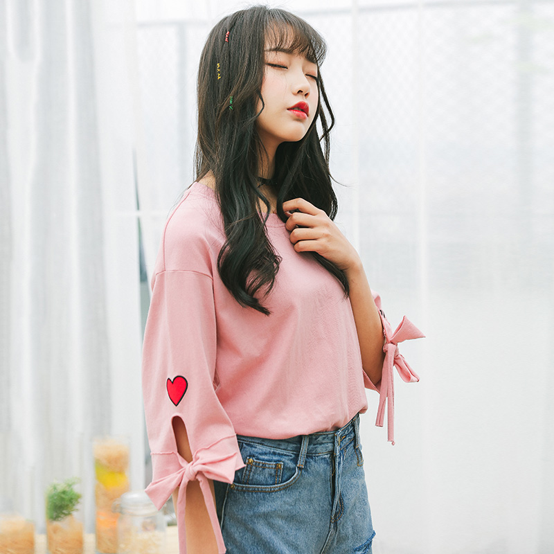 Women Clothes korean Kawaii Basic bow tshirt harajuku shirt 2020 Summer half Sleeve T-shirt looseRound Neck pink white Top tees image