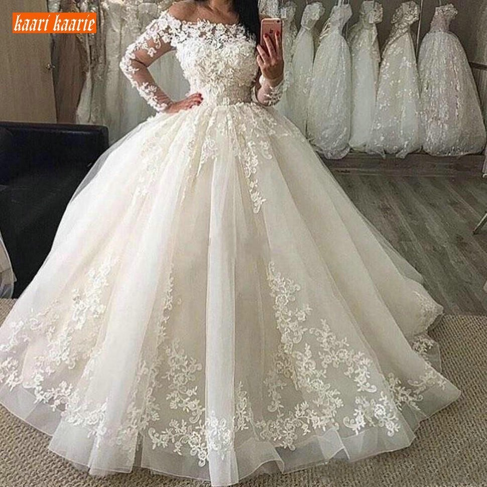 New Puffy Ball Gown Wedding Dresses Long Sleeves Off Shoulder Illusion Lace Appliques Floor Length Plus Size Formal Bridal Gowns