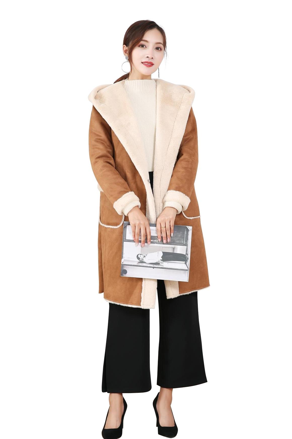 Искусственная pelzmantel Женская Корейская версия из меха пальто осень и зима Для женщин меха один мех пальто длинная куртка с секциями Кепки ол... - 6