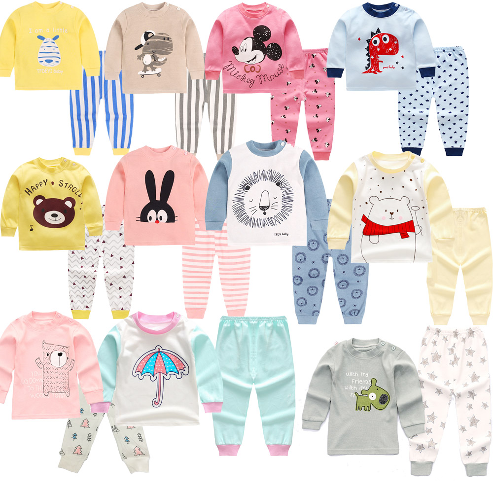 2018 children Autumn   Pajamas   clothing   Set   Boys & girls Cartoon Sleepwear Suit   Set   kids long-sleeved+pant 2-piece baby clothes