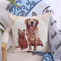 45cmx45cm Pet dog and cat pattern zoom style linen/cotton pillow covers sofa pillow case dog cushion cover decorative pillows