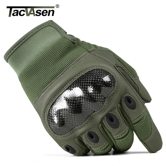 TACVASEN Military Tactical Gloves Men Airsoft Army Combat Gloves Hard Shell Leather Full Finger Shoot Hunt Work Paintball Gloves 6