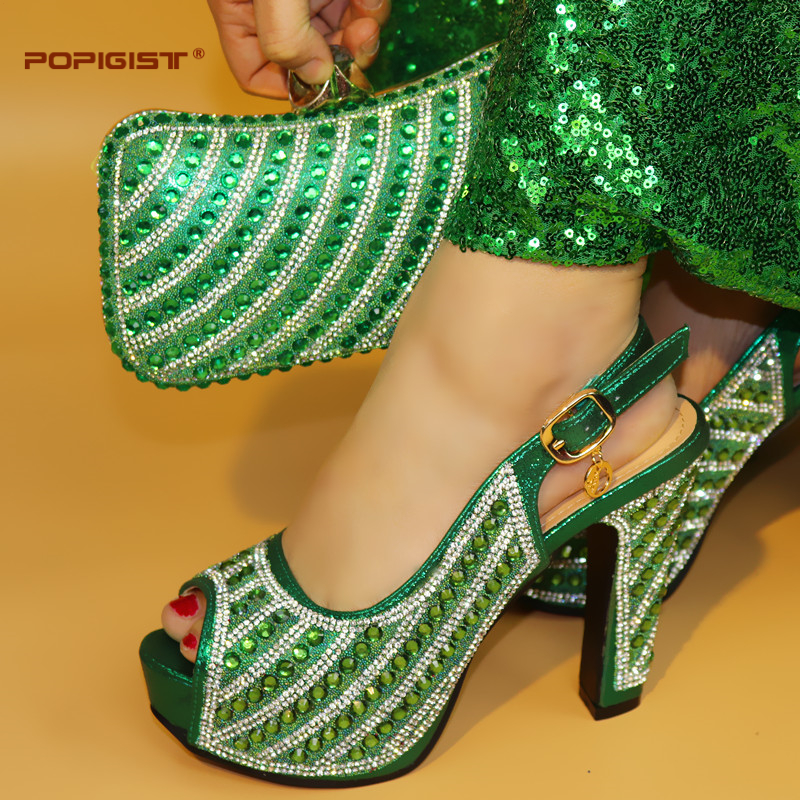 With Shining Rhinestone Green Matching Shoes and Bag Sets Italian Shoes with Matching Bag High Quality