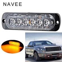 Auto-Styling ha condotto la luce auto 12-24 v Ambra Lampada 6 LED Flash Lampeggiante Auto Stroboscopio Di Emergenza di Avvertimento luce Bar 6000lm Luci di Parcheggio