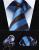 "TZS01B8 Azul Listrada Marrom 3.4 ""Homens Gravata de Seda Gravata Lenço Abotoaduras Set"