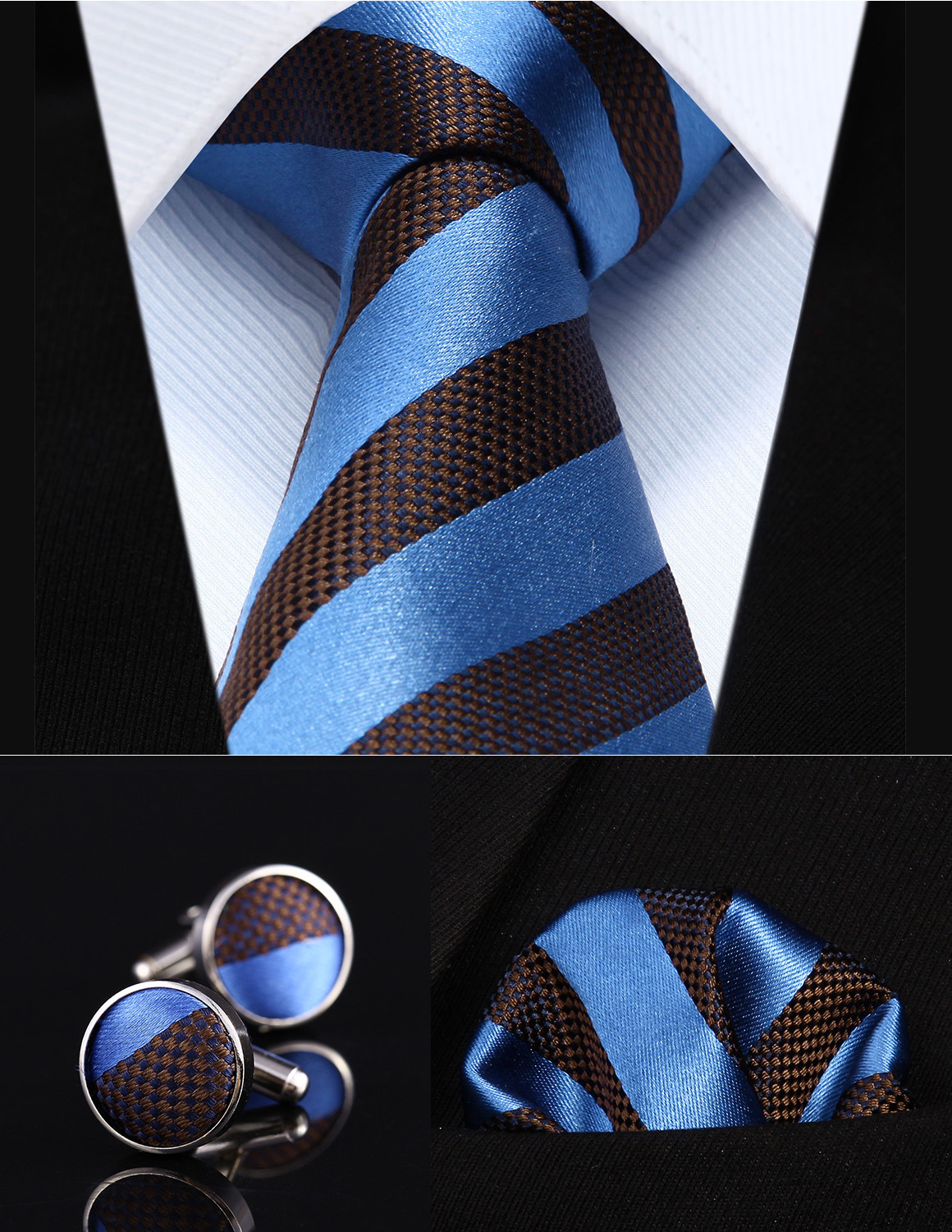 "TZS01B8 Blue Brown Striped 3.4"" Silk Men Tie Necktie Handkerchief Cufflinks Set"