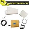 GSM 900 WCDMA 2100 Impulsionador Do Sinal Do Telefone Celular 2G GSM 900 mhz 3G WCDMA 2100 mhz Dual Band Celular Repetidor Amplificador + Painel antena