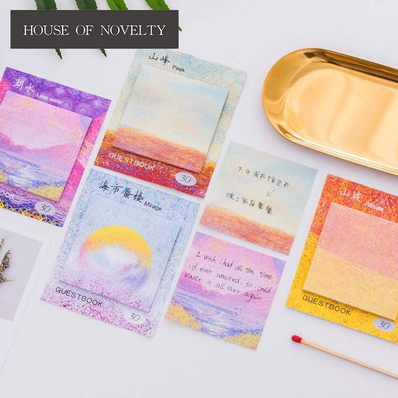 Colorful Oil Painting Self-Adhesive Memo Pad Sticky Notes Bookmark School Office Supply kitfel58024unv35668 value kit fellowes polyester mouse pad fel58024 and universal standard self stick notes unv35668
