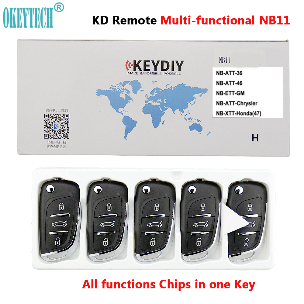 OkeyTech 5PCS Multi functional Universal Remote Key KEYDIY NB11 for KD900 KD900 URG200 NB Series All