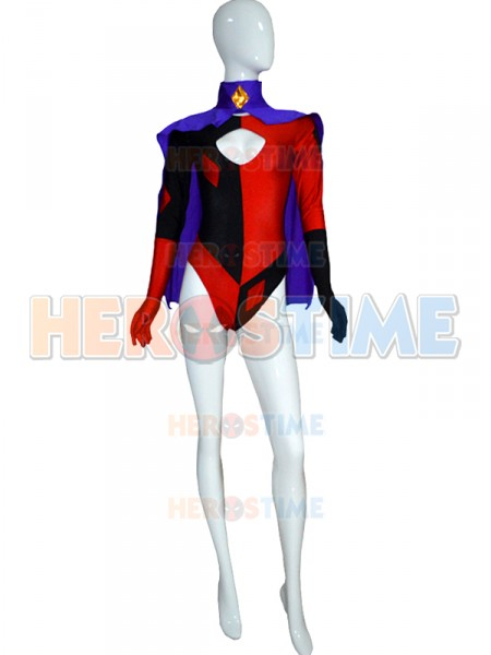 Super Villain Quinn Cosplay Costume <font><b>Lycra</b></font> Spandex Halloween Costumes for Women Cosplay Zentai Suit <font><b>Sexy</b></font> Woman <font><b>Catsuit</b></font> with Cape image