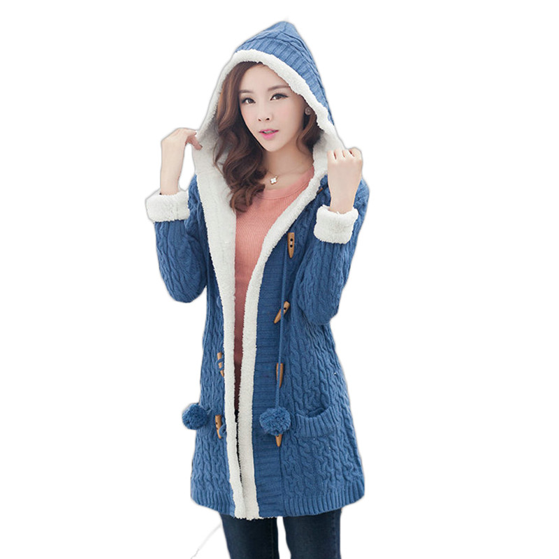Ny ankomst Jente Genser Coat Vinter 2019 Høst Casual Casual Hooded Long Thicker Cashmere Strikk koftegenser Jakke Studenter