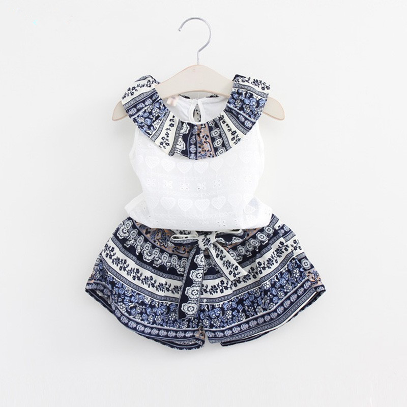 Pydownlake Girls Fashion Clothing Sets 2017 Brand Girls Clothes Kids Clothing Sets Sleeveless White T-Shirt + Short 2Pcs Suits