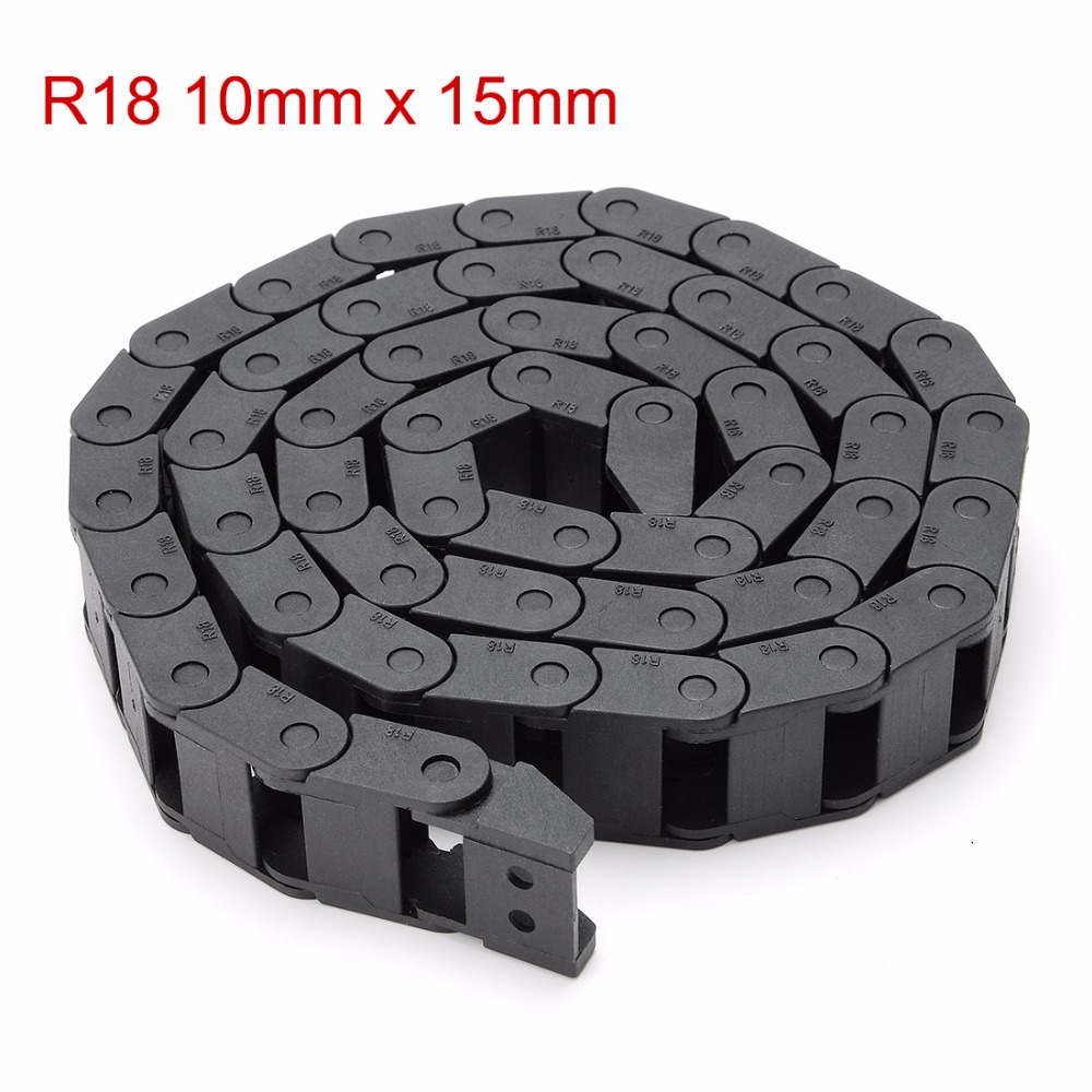 Uxcell 10x15mm R18 Plastic Cable Drag Chain Wire Carrier with End Connector Length 1m for 3D Printer CNC Router Machine Tools 15mm x 40mm r28 plastic cable drag chain wire carrier with end connector length 1m for 3d printer cnc router machine tools