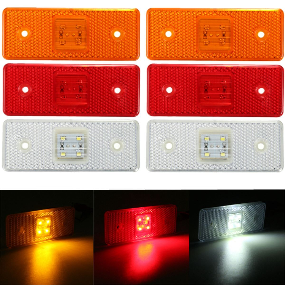 New 24V 4 LED Truck Trailer Lorry Side Marker Light Lamp Amber White Red 2x 12 24v led side outline stalk marker light lamp e8 e mark trailer truck lorry