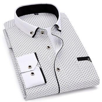 Fashion Print Casual Men Long Sleeve Shirt Stitching Fashion Pocket Design Fabric Soft Comfortable Men Dress Slim Fit Style 8XL 3