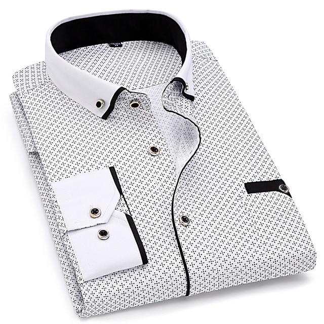 Fashion Print Casual Long Sleeve Shirt Stitching Pocket Design Fabric Soft Comfortable Slim Fit 3