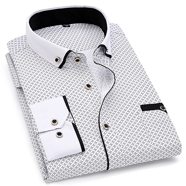 Abstract Print Long Sleeve Dress Shirt 3