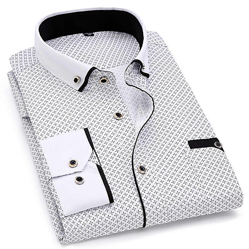 Mode Cetak Kasual Pria Lengan Panjang Kemeja Jahitan Fashion Desain Saku Kain Lembut Nyaman Pria Gaun Gaya Fit 8XL