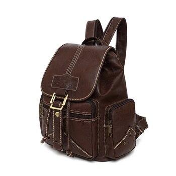 Waterproof Soft PU Leather Backpack Women Drawstring Bagpack College Student School Backpacks Vintage Female Retro Bookbag
