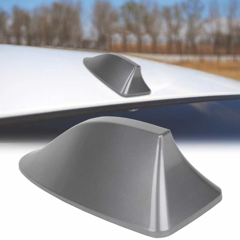 Universal Car Shark Fin Roof Antenna Aerial FM//AM with Radio Signal Decor Gray
