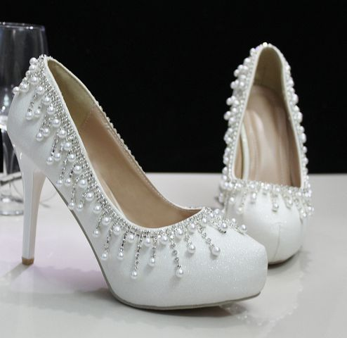 ФОТО Plus sizes 40 41 high heels platforms white shoes for woman TG538 luxury crystal rhinestones ladies female wedding party shoe